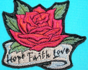 Rose, Hope, Faith, Love, Iron On Patch, Inspirational, Embroidered Patch, Motorcycle Patch, Tattoo,