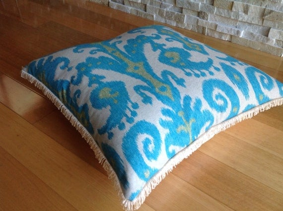 Lounge Pillows For Floor : Floor Cushion Turquoise Blue Natural Ikat Marrakech with