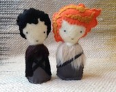 Jon Snow & Ygritte the Wilding Felt Figure Pair - Game of Thrones / Song of Ice and Fire