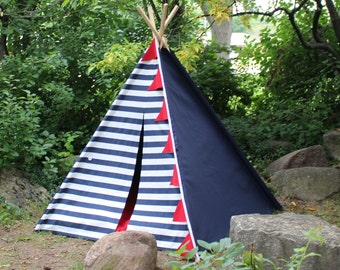 Ready to Ship Navy Stripes and Solids, Teepee, Kids Teepee Tent, Indoor Tent, Kids Tent, Tee Pee, Teepee Tent, Playhouse, Nautical Teepee