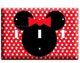 Sale Now Disney Minnie Mouse Red Polka Dots Triple Light Switch Cover Plate Children Room Girls