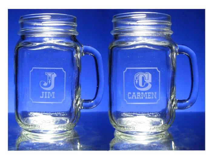 2 ENGRAVED  MASON JARS - drinking jars with handle, Personalized Wedding Anniversary, 16 oz