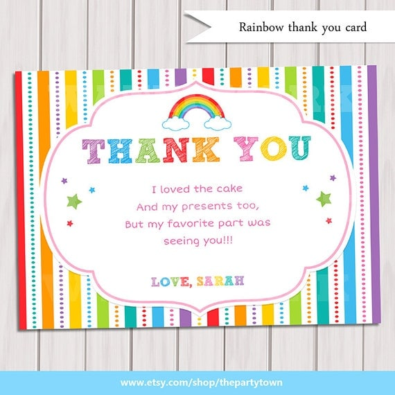 rainbow thank you card rainbow birthday note card printable