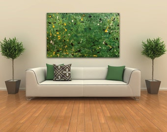 Large Abstract Painting, Wall Art, Original, Green Yellow Black, Home Decor, Acrylic on Canvas, Textured, Modern Contemporary, SPRINGTIME