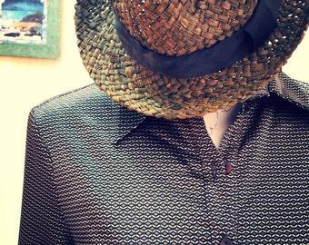 Vintage dress-vintage brown shirt dress-retro dress-vintage office dress-geometrical print dress-mad men dress