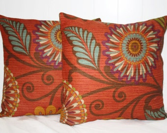 Decorative 16X16 Whimsical Floral Pillow Cover Set