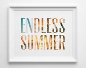 Endless Summer Poster, Beach Decor, Surf Art, Sunset Photography, The Endless Summer Print, Palm Print, Orange Blue and White Surf Decor