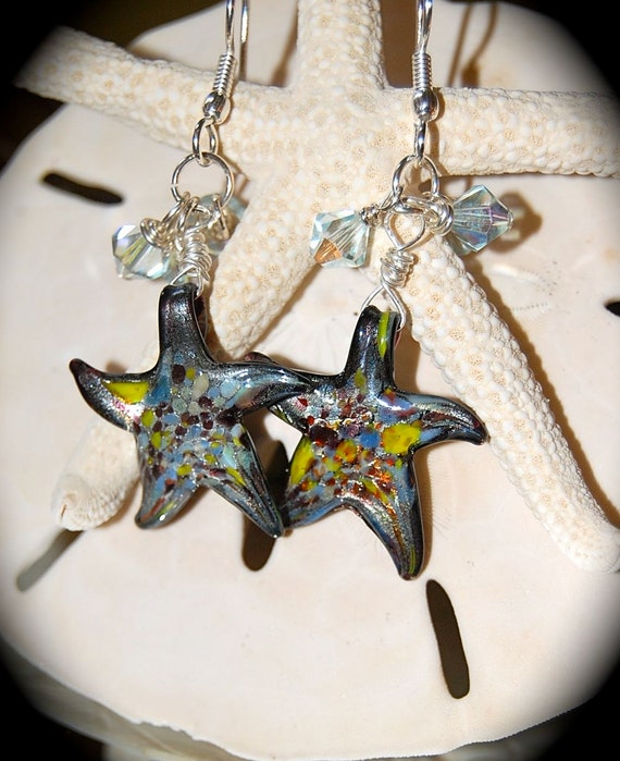 Glass Starfish Earrings at Etsy IslandTreasures2013 Shop