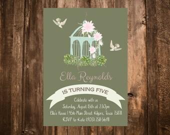 Garden Bohemian Birthday Invitation; Birdcage; Printable or set of 10