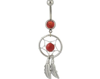 Beautiful Silvertone DREAM CATCHER Red Bead Red Gem Curved Feathers 14 gauge Stainless Steel Navel Piercing Belly Button Ring