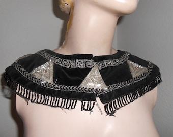 Black Velvet Collar Decorated with Clear Beads & Rhinestones