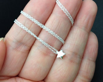 Dainty Sterling Silver Star Necklace - wishing star, tiny star necklace