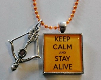 Keep Calm and Stay Alive Orange/Silver Cameo Necklace