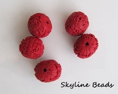 5 Cinnabar Carved  Lacquerware Beads - Beautiful Acrylic - Red Oval- Asian heritage