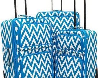 Three piece Luggage Set.  Chevron Print in Lime or Cranberry or Teal