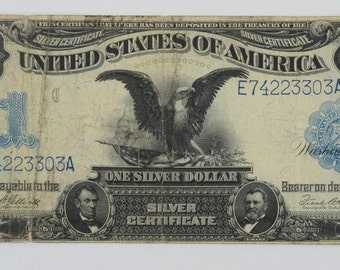 Silver Certificate 1899 Black Eagle Silver Certificate One Dollar Bill Ser E74223303A