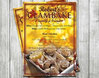 Clam Bake Invitation, DIGITAL FILE, invite, Clambake, Personalized by MadJax Design and Print