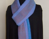 Made to Order Only Hand Woven Turquoise Pink and Orange Extra Long Scarf in Soft Pure Wool Classic Fashion Scarf Custom Order