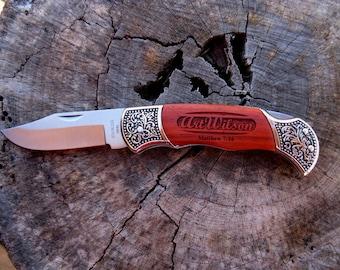 Laser Engraved Deco Grip Hunting Knife