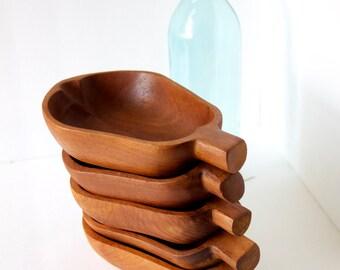 Five Teak Pear Shaped Bowls