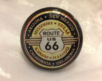 Route 66 Painted Wooden Dresser / Drawer Knob