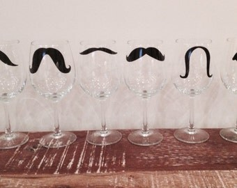 SET OF 6 mustache wine glasses