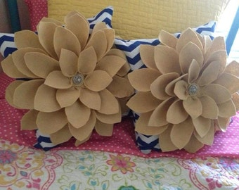Navy and Tan Felt flower pillows- set of two