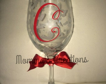Personalized wine glass with frosted cheetah spots and initial or name