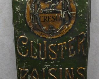Cresca Fancy Cluster Raisins Tin (Fair Cond.)