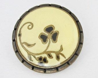 Metal buttons - 3 enameled metal buttons - bronze metal shank buttons - 26mm -   M192 -  large metal buttons lot