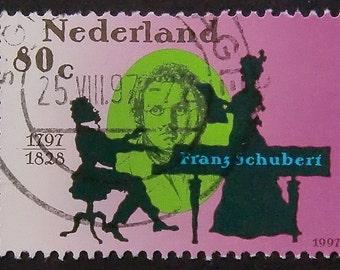 Franz Schubert 1797-1828 Music -Handmade Framed Postage Stamp Art 8705