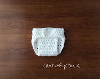 Crochet Baby White Diaper Cover/PhotoProp/Made to Order