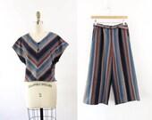 SALE Vintage 1970s Top Cropped Pants Set Striped Medium