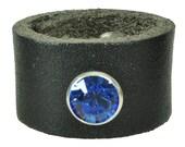 """Lederring """"SWAROVSKI"""", Leder, leather, ring, Niete, rivet, rund, round, rhinestone, Strassniete, rot, red, blau, blue, weiß, white, Farben"""