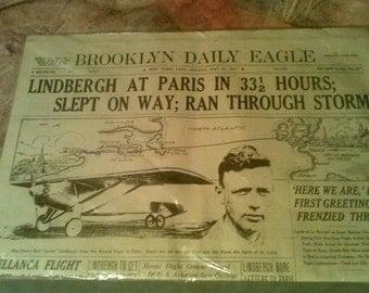 RARE original NY news paper of Charles Lindbergh flight from NY to Paris
