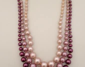 Vintage Three Row Purple Pearl Necklace