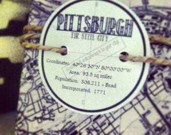 Pittsburgh PA Coaster Set - 4 Stone Coasters Maps