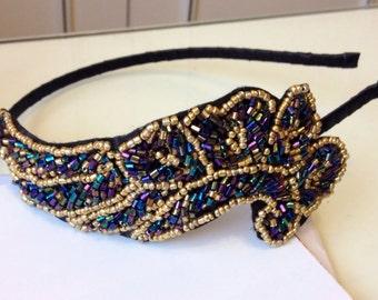 Gatsby 1920s headband sequin and bead art deco headband