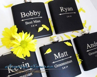 Black Groomsman Flask Set ~With Free Engraving~ 6 oz  Stainless Steel Flask