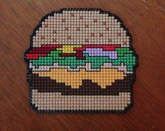 Cheeseburger Coaster - Plastic Canvas Cross Stitch Pattern