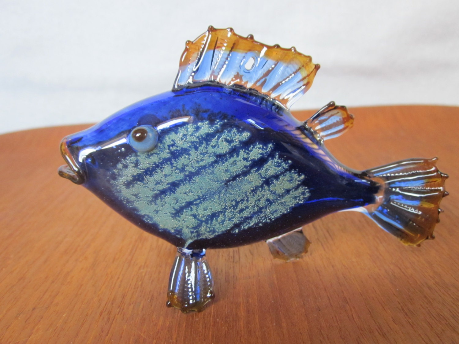 Flameworked blown glass fish borosilicate glass figurine or for Blown glass fish