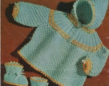 vintage baby knitting pattern for pixie hood jacket and booties dk double knit birth to 6 months PDF