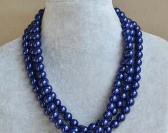 navy blue Pearl Necklace,3 Strands Necklace,Wedding Necklace,navy pearl necklace.Pearl Jewelry,Bridesmaid Jewelry,Wedding Party