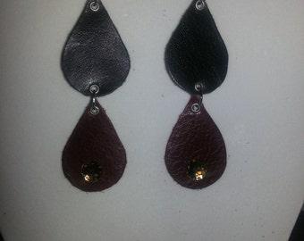 Rain-handmade leather 2 rain drop earrings