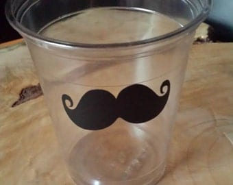 24 mustache cup 10 oz. 12 oz. or 16 oz. clear. Mustache design for your party fun. Mustache Bash, Baby Shower Disposable cups. Vinyl B-65