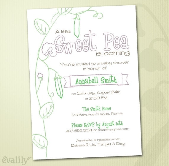 sweet pea printable baby shower invitation in lavender and