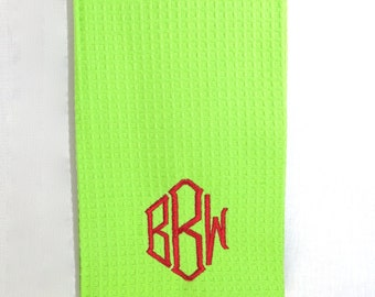 Green Waffle Weave Hand Towel with Monogram