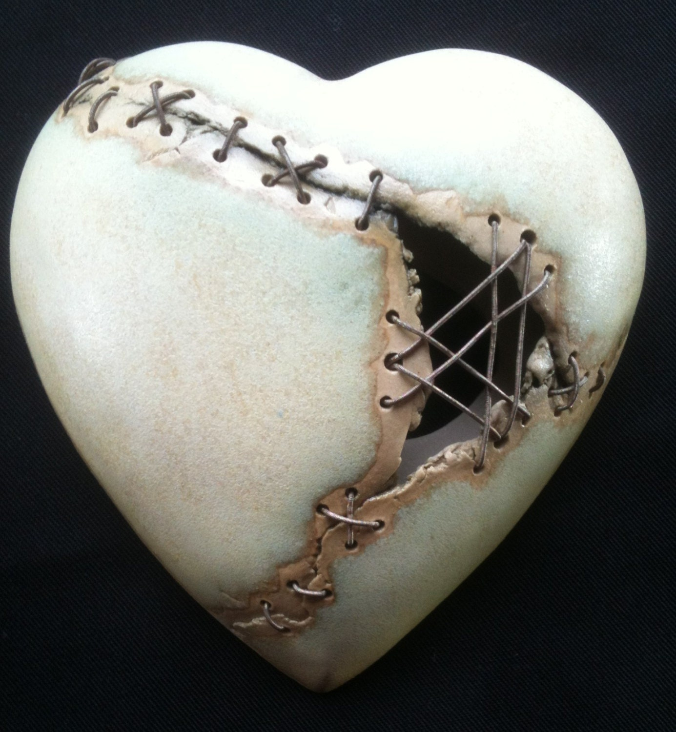 Valentines Heart Wall Plaque Ceramic Stiched With Wire Yellow