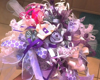 Bridal Shower Gift Wrap Rehearsal Bouquet in Purple - Bridal Shower Decorations