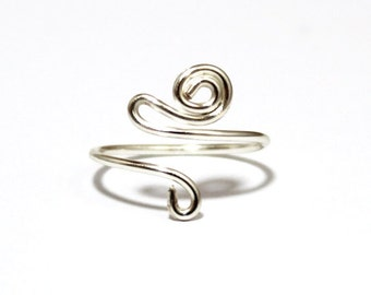 Adjustable Silver Plated Wire Wrap Toe Ring